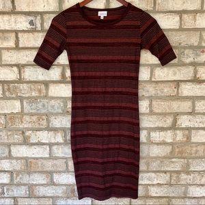 LuLaRoe Julia Burgundy Striped T-Shirt Dress